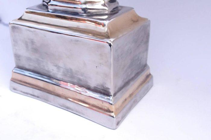 lampe porcelaine argentee doree travail ialien zoom base