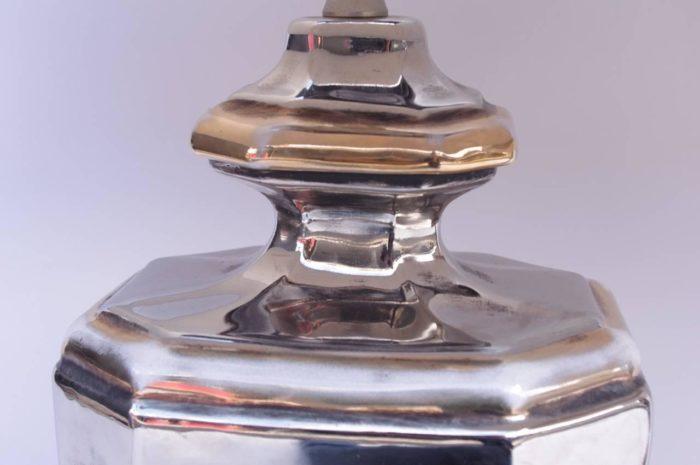 lampe porcelaine argentee doree travail italien detail