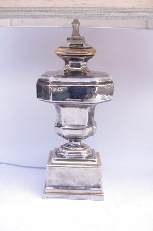 paire lampes porcelaine argente
