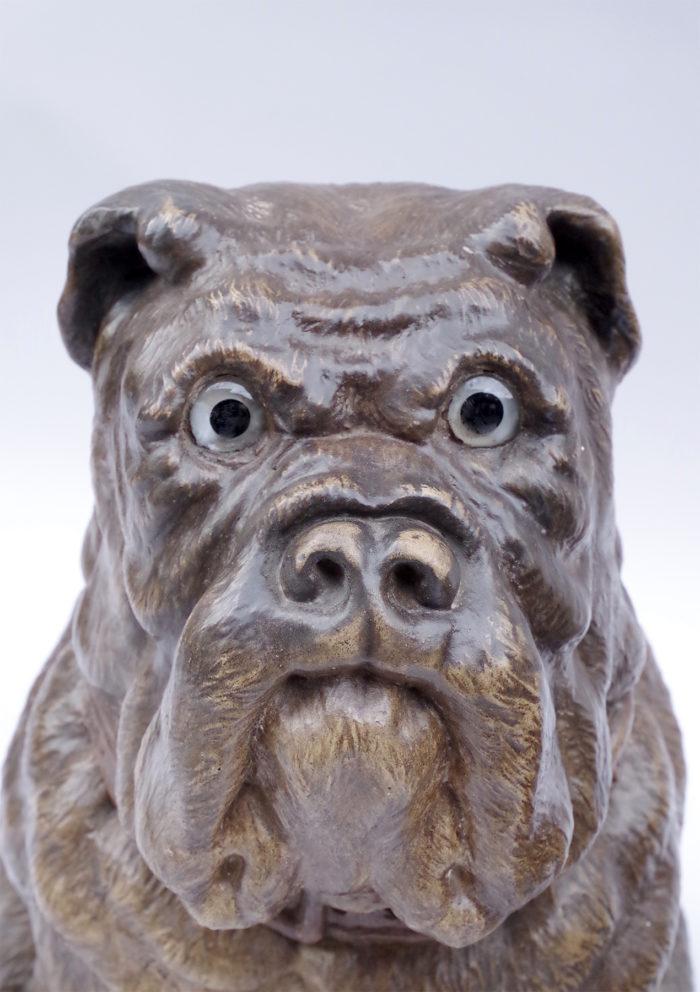 Paire de chiens bouledogue céramique XIXe tête
