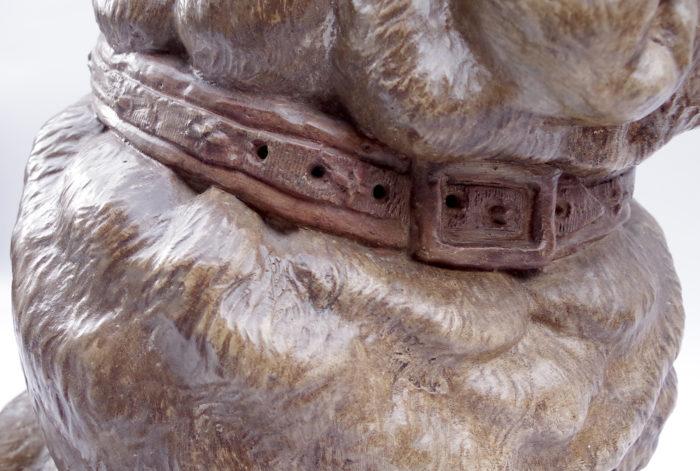 Paire de chiens bouledogue céramique XIXe détail