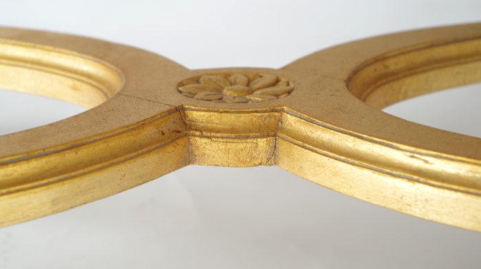 Paire fauteuils régence doré entretoise