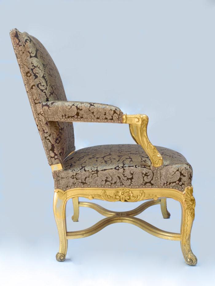 Paire fauteuils régence doré