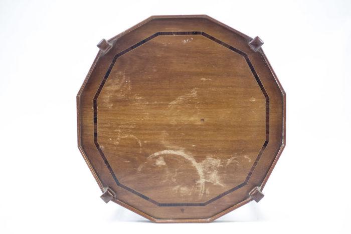 Paire de bouts de canape forme octogonale hetre deux plateaux
