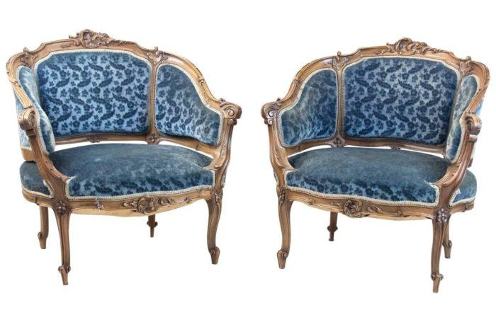 rocaille bergeres armchairs walnut blue velvet