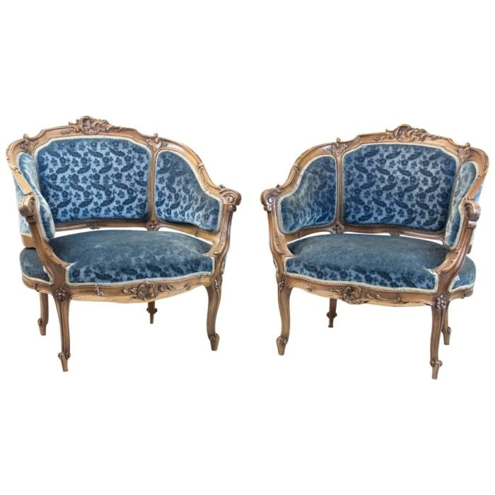 bergere rocaille fauteuils velour bleu