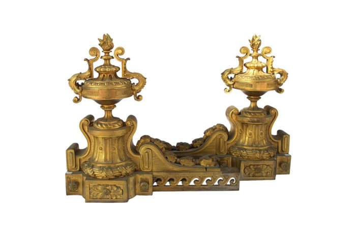 chenets bronze doré torche