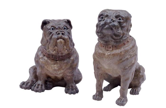 Paire de chiens bouledogue céramique XIXe