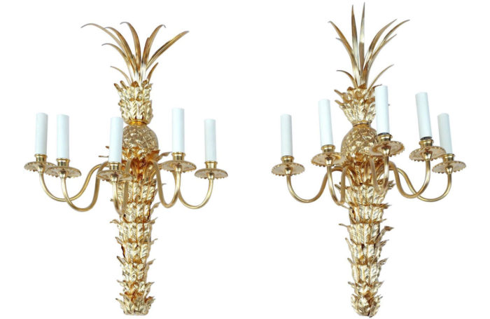 paire appliques bronze dore lampe ananas maison charles