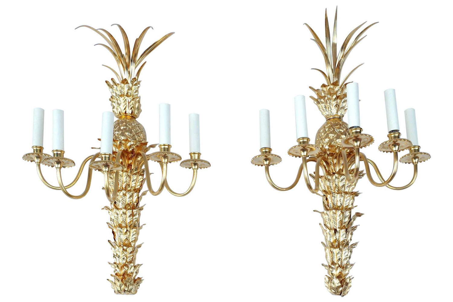Pair Of Gilt Brass And Bronze Sconces Pineapple Shape Stamped