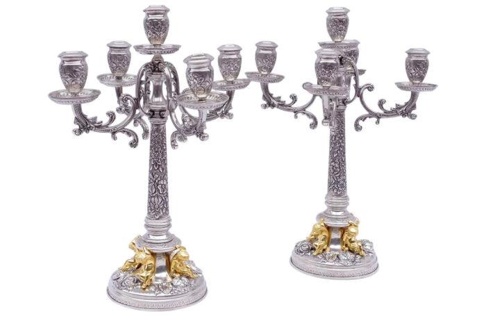 solid silver putti candelabras
