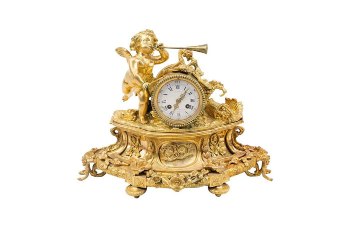 Louis XVI style clock in chiseled and gilt bronze