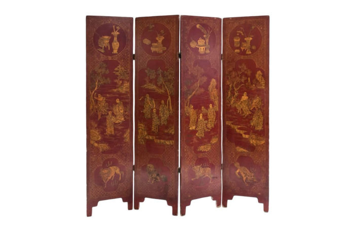 meiji red lacquer folding screen