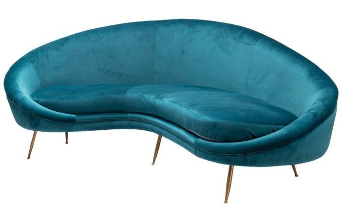 peacock blue velvet 1950 sofa