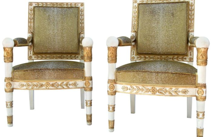 empire sharksin gold white armchairs