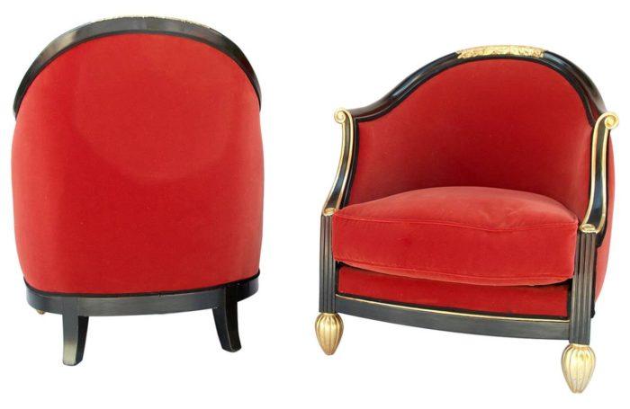 fauteuils art déco dufrêne velours