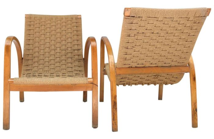 armchair blond beech rope scandinavian design