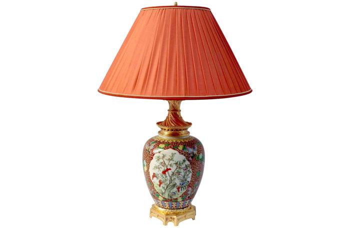 Lampe famille verte fleurs