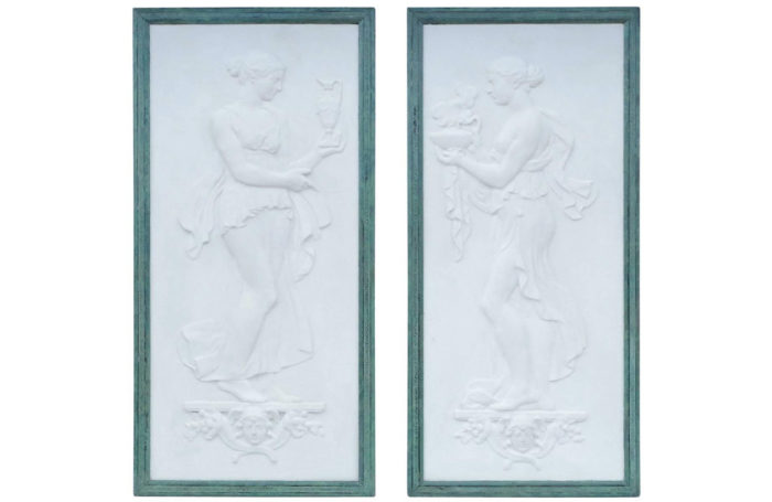 bas relief offrandes cadre bronze patine