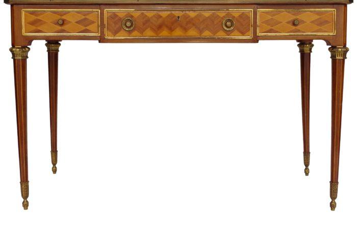flat desk louis xvi marquetry mahogany