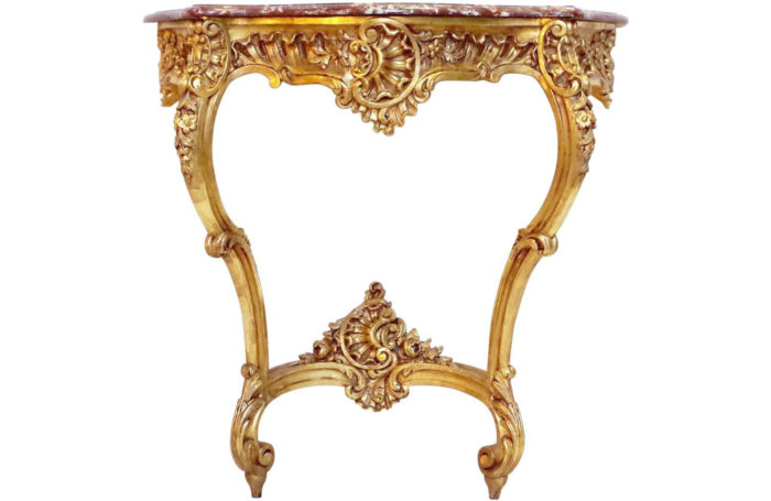 console bois dore louis xv coquille