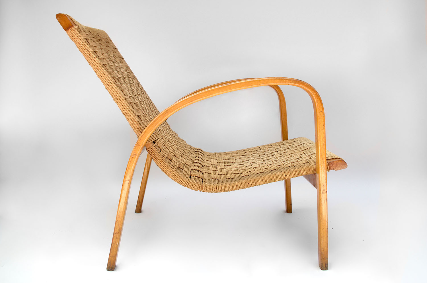 Pair Of Rope And Blond Beech Armchairs Scandinavian Design Circa 1960