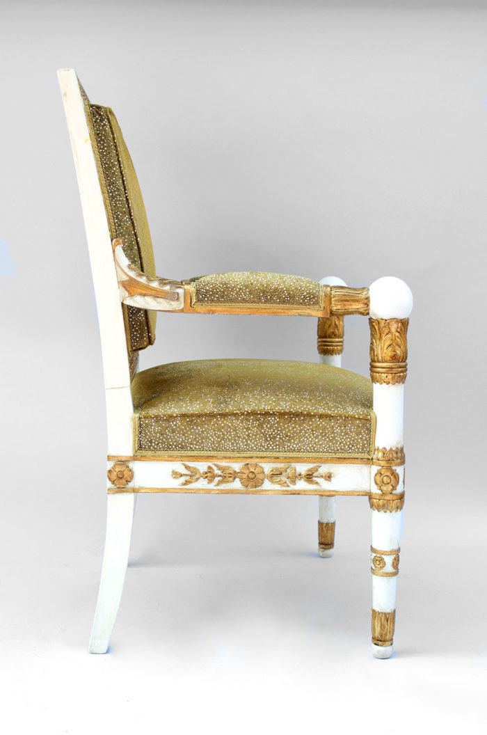 fauteuil empire tissus galuchat detail pied