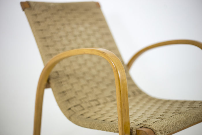 fauteuils corde hêtre blond accotoir
