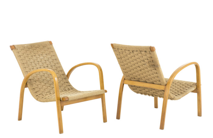 fauteuils corde hêtre blond design scandinave