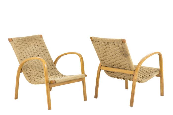fauteuils corde hêtre blond design scandinave