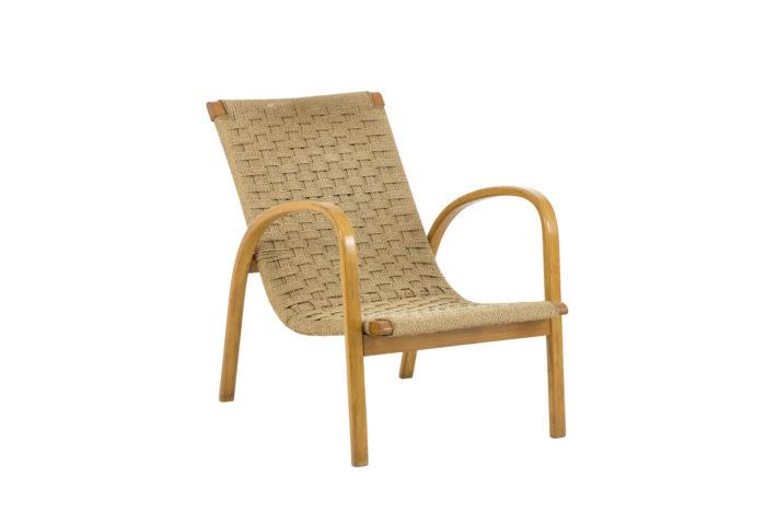 fauteuils corde hêtre blond design scandinave angle