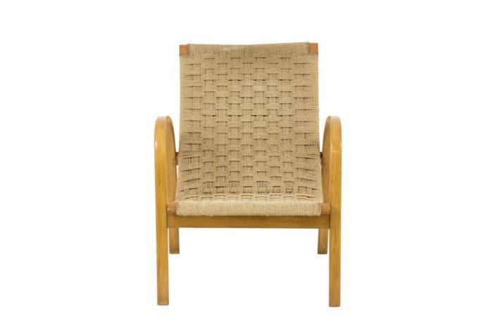 fauteuils corde hêtre blond design scandinave face