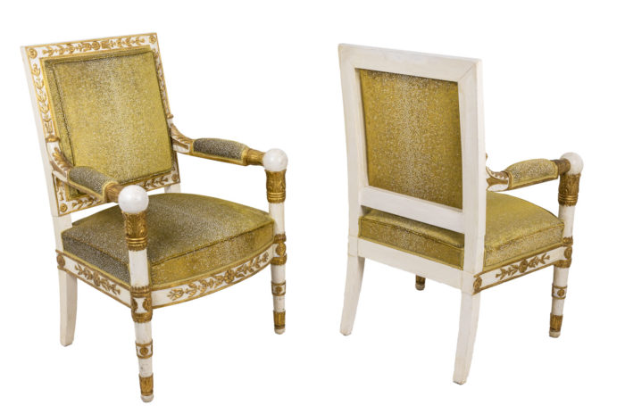 empire style armchairs gilt white wood