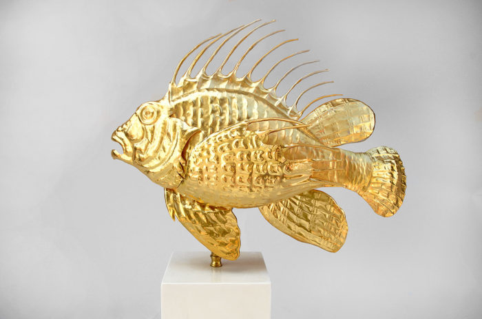 lampe rascasse poisson laiton doré