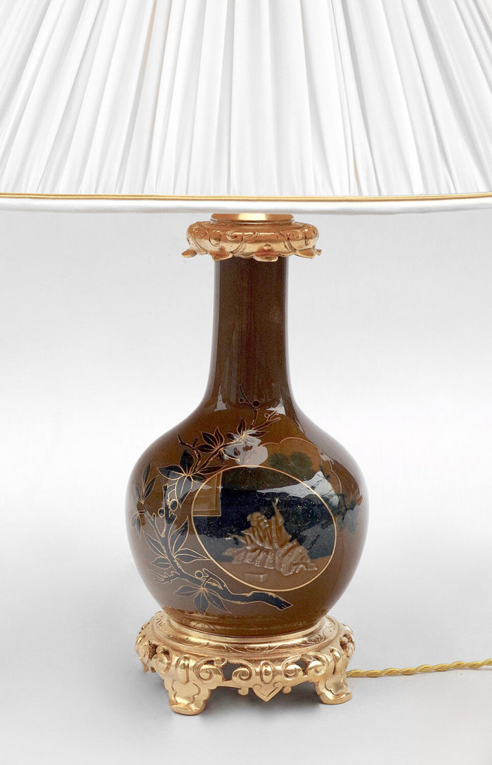 lampe porcelaine japon marron bleue solo