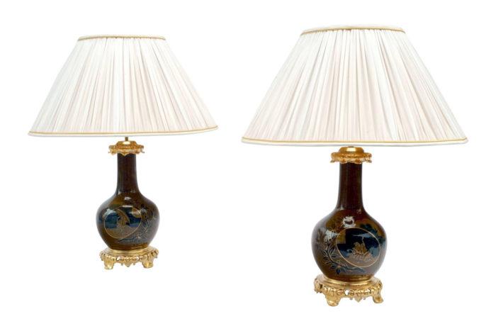 lampes porcelaine marron bleu avanturine japonisante