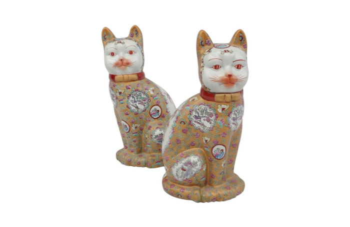 canton style porcelain sculptures cats