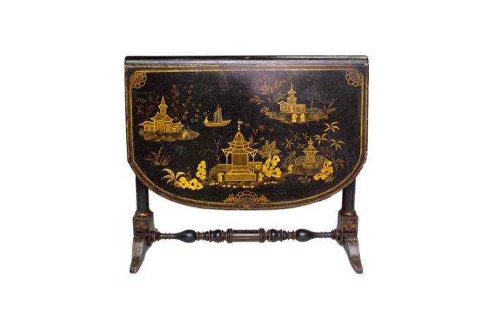 table abattant laque decor pagode