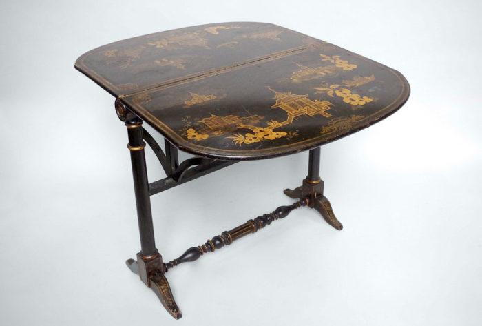 table abattant laque noire pagode ouverte 2