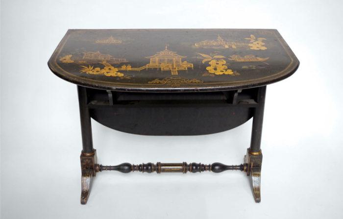 table abattant laque noire pagode ouverte