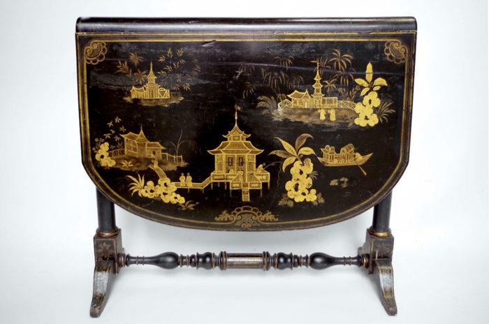 table abattant laque noire pagode vue pcple