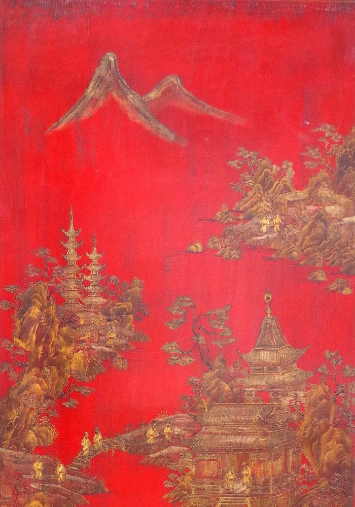 table basse laque noire rouge detail montagne