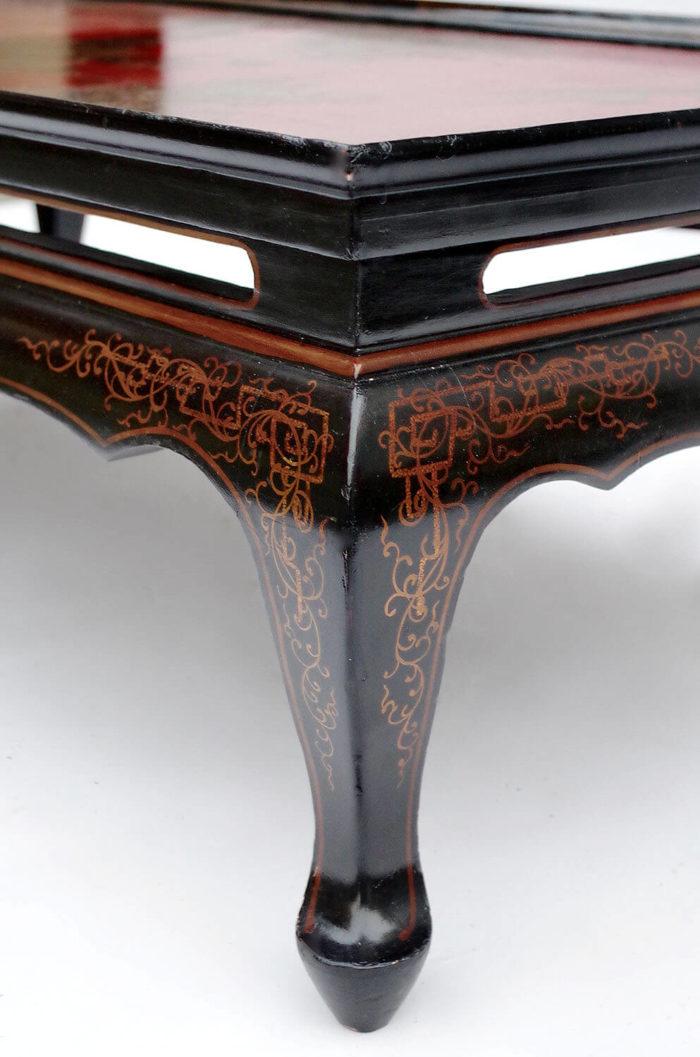 table basse laque noire rouge pied 2