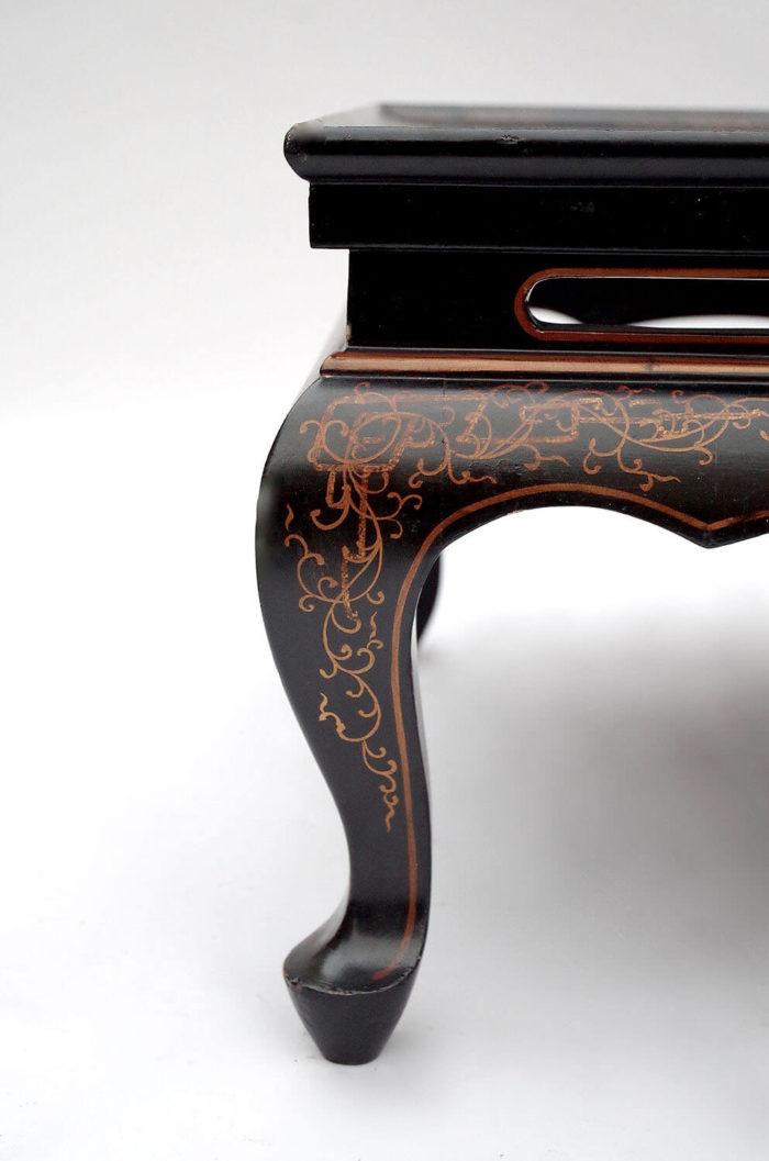 table basse laque noire rouge pied 3