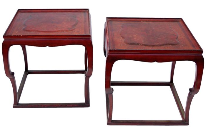 red lacquer chinese style side tables