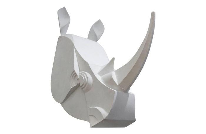rhinocéros blanc laqué métal