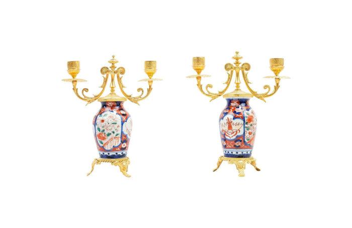 candélabres paire imari bronze doré