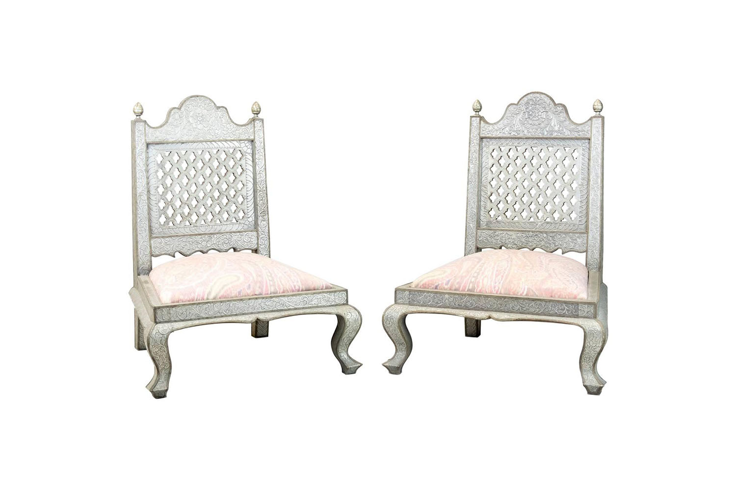 moorish style fireside chairs - Pair Of Moorish Style Fireside Chairs Decorated In Repousse, Circa