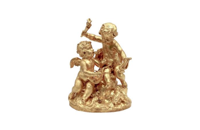 allegorie musique ou des arts terre cuite dorée
