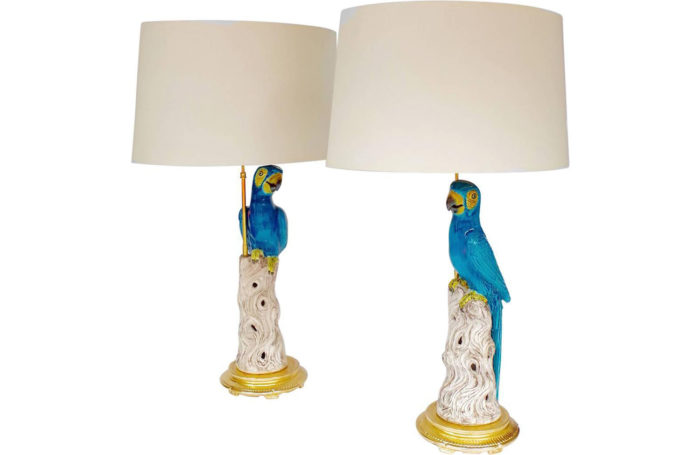 lampes perroquets faience